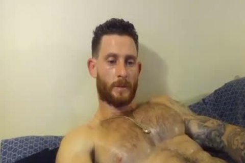 pumped up man With Oiled Body Masturbating With His Hard wang