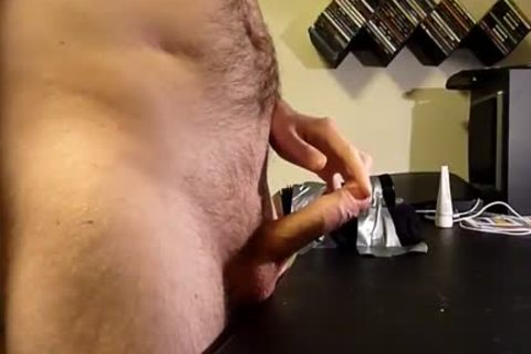 lad using fleshlight and stroking. Great cream flow at the end.