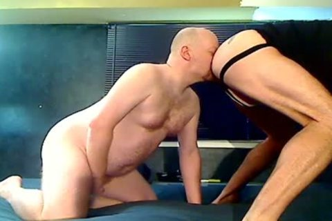 Two Stocky Bald Bears Eat wazoo and Breed