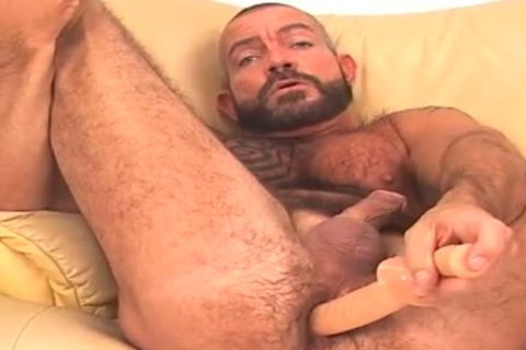large and bushy, bearded BEAR works anal w/ sextoy