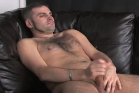 bushy chest and a admirable knob